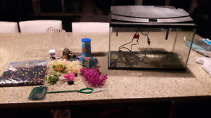 Fish tank. 10 gallon. LED lights with accessories