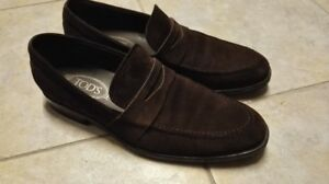 Mens $600 TODS suede penny loafers size 8 Made In Italy