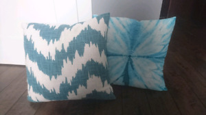 Teal and Turquoise Accent Pillows / Throw Cushions