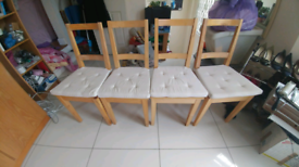 Light solid oak chairs x4