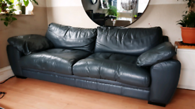 Real leather sofa -colour gray