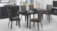 DINING TABLE IN BLACK MASSIF WOOD WITH 2 DRAWERS