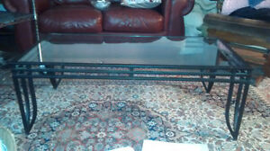 metal glass top coffee table with 2 matching end tables