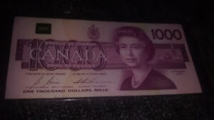 1000 CAN $ Bill from 1988