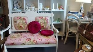 Shabby Chic Upholstered Bench Seat