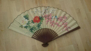 Vintage 3 large chinese wall hanging fans