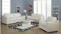 Set de salon 3 fauteuils en cuir blanc ou gris pattes chromées