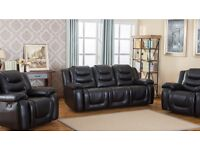 Leather suite reclining sofa