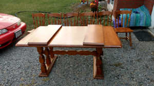 Maple dining table with 6 chairs