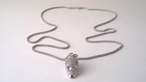 White Gold Plated Pave Cubic Zirconia Skull Charm SS 925 Chain
