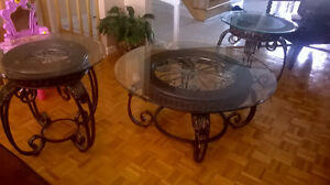 Round glass top coffee and side tables