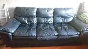 CURBSIDE ALERT Black Leather Couch Good Condition