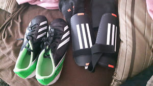 Soccer shoes and pads