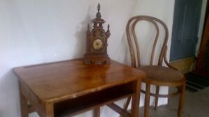 clock, spinning wheel, desk and chair