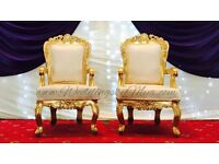Wedding Charger plate hire Gold Plates 95p royal sofa hire £249 king throne rental £199 sale on cal