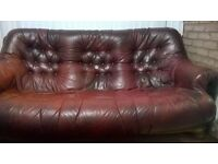 Leather sofa wooden frame