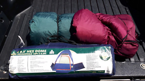 New Tent + 2 lightly Used Sleeping Bags