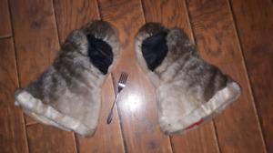Seal skin mittens. Mens, natural
