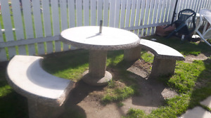 Concrete table and benche's $300 obo