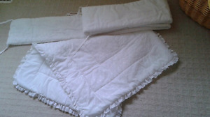 Beautiful White Eyelet Nursery Blanket and Bumpers