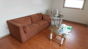 Futon, chair and coffee table