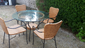 Wicker round glass table and 4 chairs