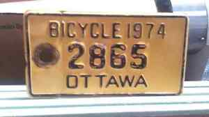 Collectable 1974 Ottawa Bicycle Licence Plate