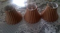 """Set of (3) 6.5"""" diameter fabric clip on lamp shades new"""