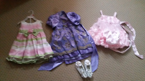 Toddler party frocks and white party shoe for sale