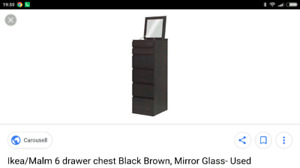 ** WANTED **6 Draw Malm Black Brown Dresser **WANTED**