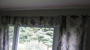 Window treatments with peacock pattern