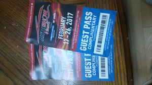 2 Adult tickets for 2017 Auto Show