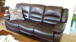 Black Leather couch with 2 lazy boys on the ends