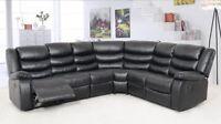 Sofa modulaire 2 côtés inclinable en cuir noir