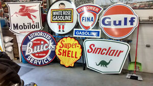 LARGE GAS OIL AND TRACTOR SIGNS
