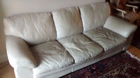 Leather sofa and coffee table on sale