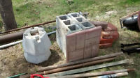 assorted bricks and patio stones,  cement blocks
