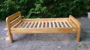SOLID PINE slat bed frame and bedding