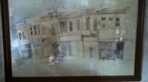 "Painting Catherine Gibbon ""Shops on King St. Dundas"""