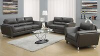 SET DE SALON 3 fauteuils en cuir gris pattes chromées