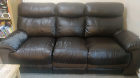 FREE - 2 x 3 seater leather recliners