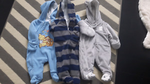 3 one piece fleece outfits