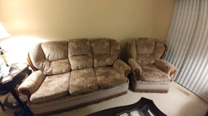 Couch set with 2 matching chairs