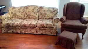 """Sofa 3 seater 84"""" and Wing back chair with ottoman"""