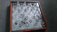 COMPLETE GLASS CHESS BACKGAMMON