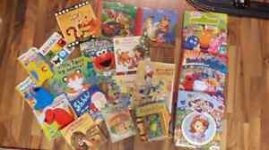 Assortment of children's books.