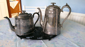 Silver plated teapot and hot water pot