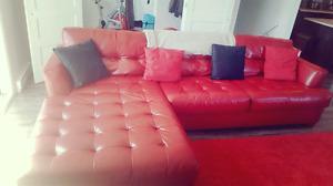 Sofa sectionnel en Cuir rouge