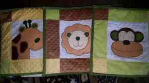 Jungle animal themed wall art quilts for baby/child room.