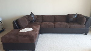 BROWN SUEDE SECTIONAL-CLEAN SMOKE-FREE, PET-FREE, BUG-FREE HOME